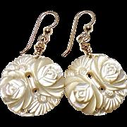 White Mother of Pearl Flower Drop Earrings