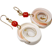 Conch Shell and Coral Drop Earrings