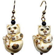 Carved and Etched Bone Cats Drop Earrings