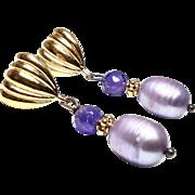 Faceted Amethyst, Lavender Rice Pearl Drop Earrings