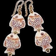 Carved Bone Double Fish Drop Earrings
