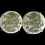 Etched Bone Dragon Button Earrings
