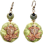 Carved Bone Fish on a Lily Pad Drop Earrings