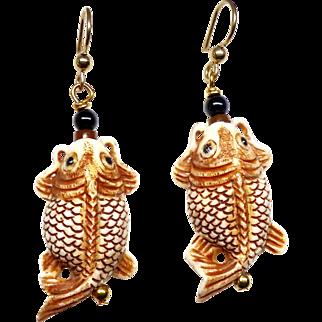 Carved Bone Fish Drop Earrings
