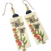 Etched Bone Butterfly and Flowers Drop Earrings