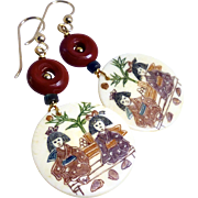 Hand  Etched Bone Drop Earrings - Two Asian Ladies in a Garden
