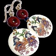 Hand  Etched Bone Drop Earrings - Two Asian Ladies in a Garden
