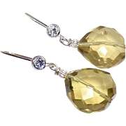 Faceted Citrine Drops with CZ and Sterling Silver Ear Wire