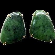 Dark Green Jasper French Clip Button Earrings
