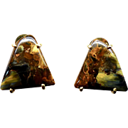 Black and Golden Pietersite French Clip Button Earrings