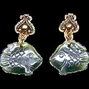 Green Burmese Jade Fish Drop Earrings