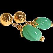 Antique Green Glass Drop Earrings
