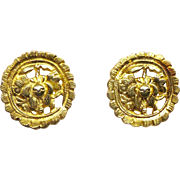 Antique Chinese Gold Vermeil Button Earrings