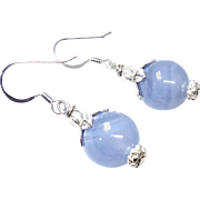 Translucent Blue Chalcedony and Silver Drop Earrings