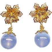 Translucent Blue Chalcedony and 18k Gold Vermeil Filigree Flower Drop Earrings