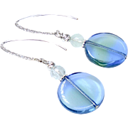 Blue and Green Vintage German Glass Drop Earrings
