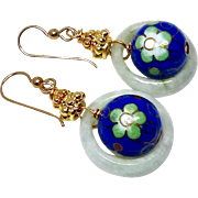 Blue Chinese Cloisonne Beads Suspended in Green Jade Rings Drop Earrings
