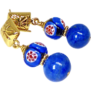 Blue Lapis with Italian Millefiori Bead Drop Earrings