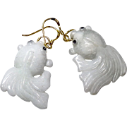 Carved Natural White Jade Fish Drop Earrings