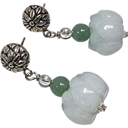 Carved Pale Greenish White Jade Lotus Drop Earrings