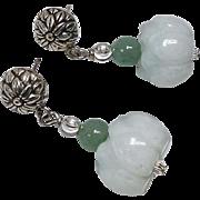 Carved Pale Greenish White Jade Lotus Drop Earrings