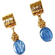 Iridescent Blue Kyanite Drop Earrings