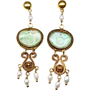 Vintage Chinese Apple Green Jadeite, 18K Gold Vermeil Filigree and Pearls Drop Earrings