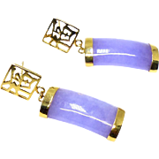 Vintage Lavender Jade 14K Gold Drop Earrings