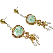 Vintage Carved Chinese Apple Green Jadeite and Pearl, 18k Gold Vermeil Filigree Drop Earrings
