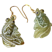 Hand Carved Green Jade Fish drop Earrings