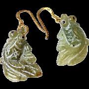 Hand Carved Green Jade Fish drop Earrings