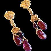 Red garnet Nugget Drop Earrings