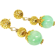 Enhanced Green Jade Drop Earrings