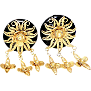 Indonesian 18k Gold Vermeil Flower and Black Onyx Disk Button Earrings