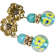 Turquoise and Inside Flower Glass Drop Earrings