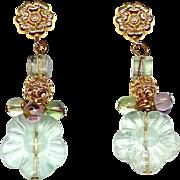 Green Fluorite Flower Drop Earrings