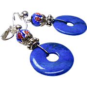Blue Natural Lapis Disk, Italian Millefiori Glass, Silver Clip Earrings