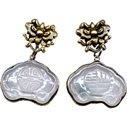 Carved Pale Blue Jade Locks - Good Luck and Long Life - Wrapped in 19K Gold Vermeil Drop Earrings