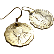 Vintage Commonwealth Indian Coins - 1926, 1930 - 18k Gold Vermeil Wire Drop Earrings