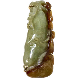 Carved Green Jade Lotus Pin and Pendant