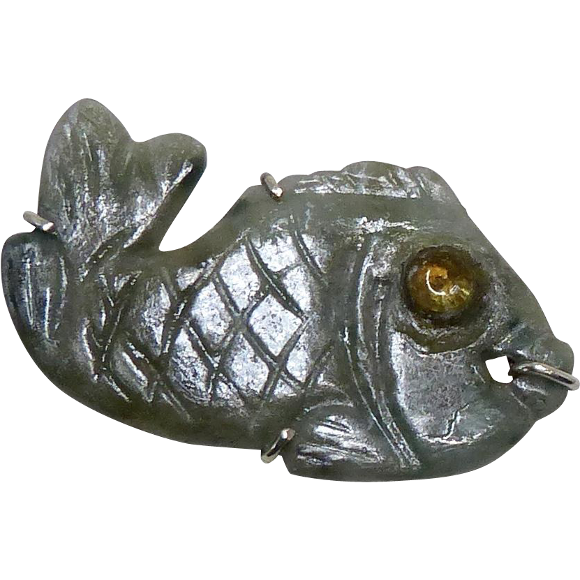 Green jade fish pin from carolbarrettjewelry on ruby lane for 94 1 the fish