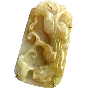 Golden Jade Dragon Pin and Pendant