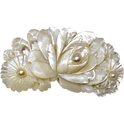 Victorian Mother of Pearl Flower Pin