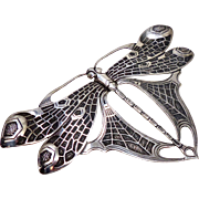 Large Vintage Indonesian Engraved Silver Butterfly Pin
