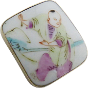 Antique Qing Dynasty Porcelain Shard Pin and Pendant