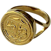 Gold Eletroplated Indian Amulet Ring