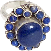Vintage Lapis and Silver Ring