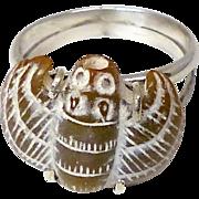 Vintage Carved Brown Jade Bat Ring