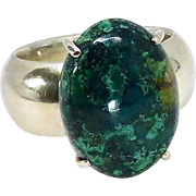 Natural Azurite Cabachon Sterling Silver Ring