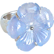 Blue Chalcedony Flower and Silver Ring